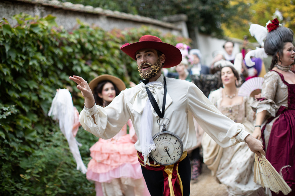 A procession of the rock and roll versions of our 18th century costumes