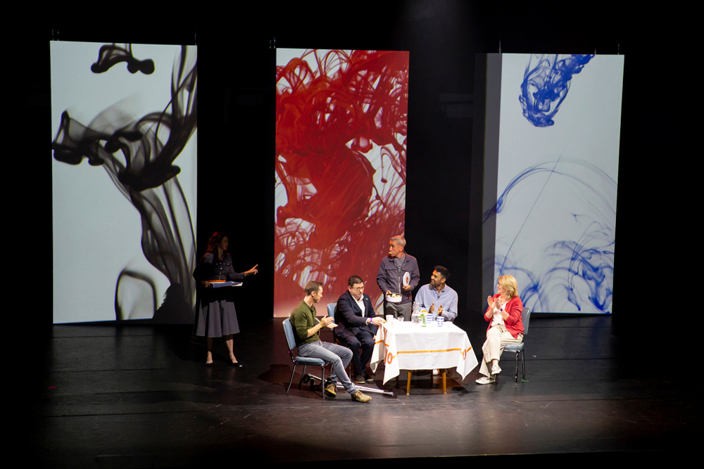 Markus Zusak leads a panel of new writers with Limbic's visuals flanking them