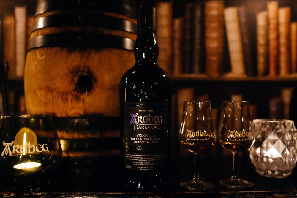 Ardbeg Dark Cove whiskey. Comm by Marie Adams, MHUK